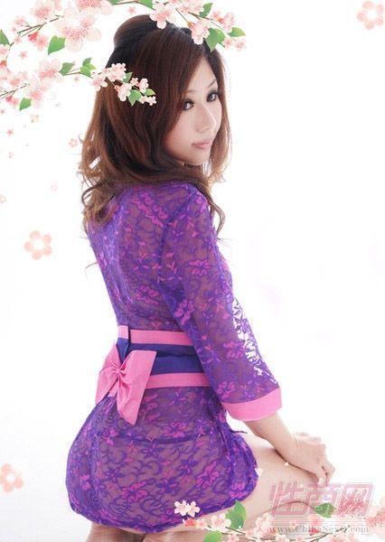 蕾丝花边透明性感睡裙女式和服套装诱惑情趣内衣睡衣