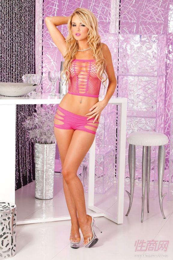 粉红撕裂透视套装情趣内衣25013 pnk