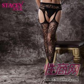 史黛丝黑色玫瑰四面开档情趣丝袜