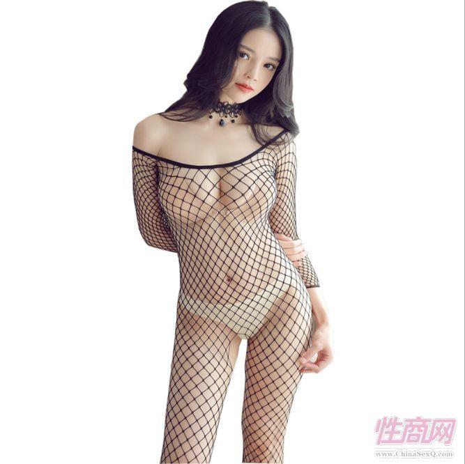 情趣内衣性感开裆紧身连体网衣女中长袖网眼连身丝衣