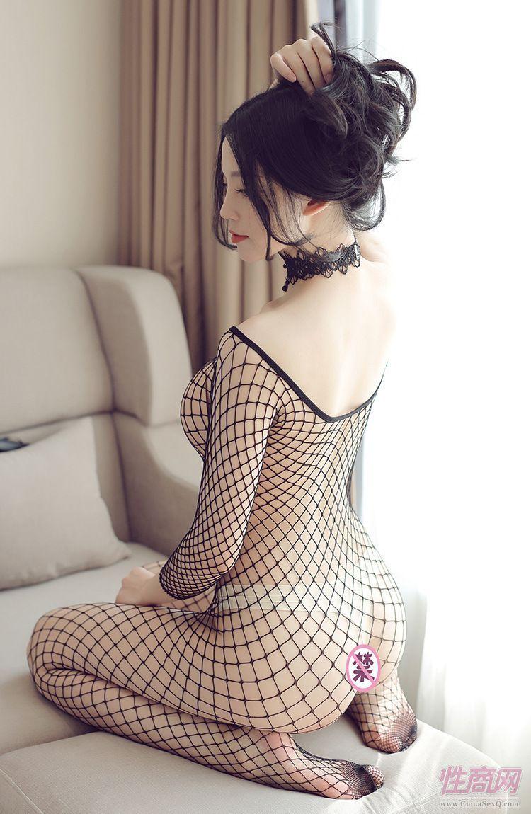 情趣内衣性感开裆紧身连体网衣女中长袖网眼连身丝衣5
