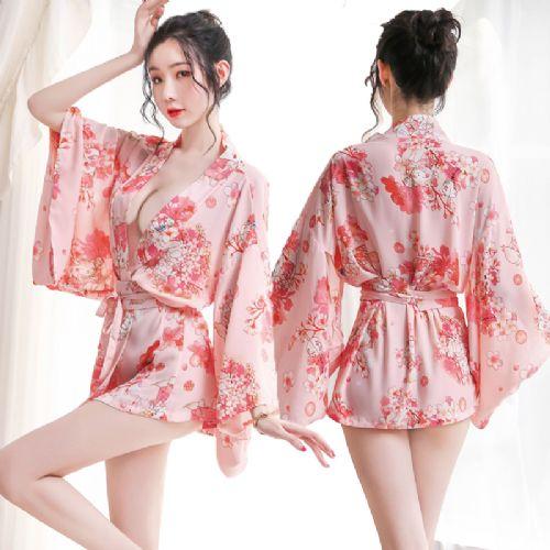 情趣内衣女新款日式印花花和服套装衣浴袍
