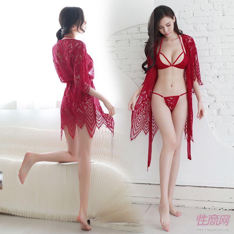 好奇小姐酒红现货性感蕾丝透明波西米亚风吊带情趣内衣睡衣睡裙