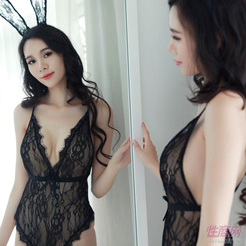 情趣内衣性感蕾丝连体紧身衣黑色透明网纱装女式三点式欧美批代发