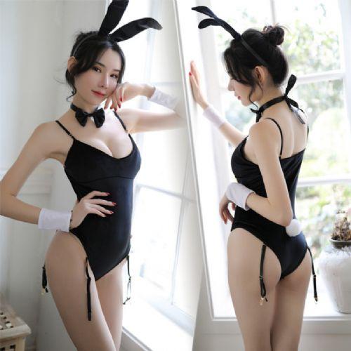 冬季新品性感情趣内衣裆部暗扣兔女郎连体套装