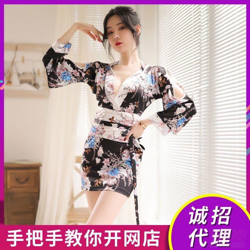 柠檬物语情趣内衣女式日系印花开襟性感镂空束腰和服激情招商加盟