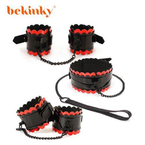 Bekink 必情趣 黑红花边三件套 SM成人情趣用品