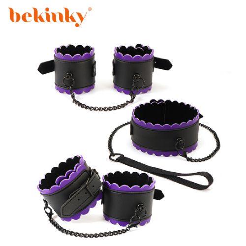 Bekink 必情趣 黑紫花边三件套 SM成人情趣用品