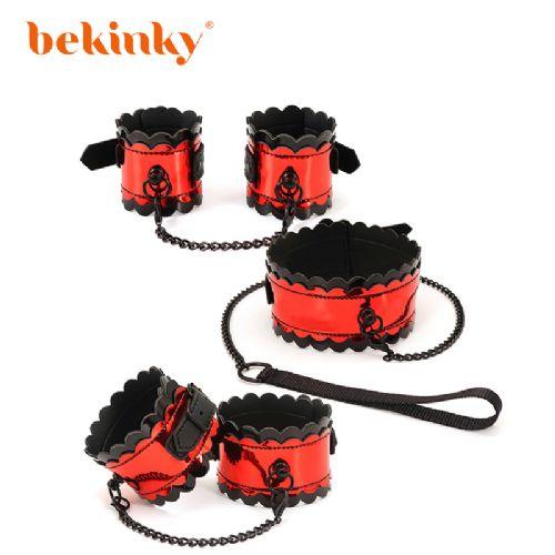 Bekink 必情趣 红黑花边三件套 SM成人情趣用品