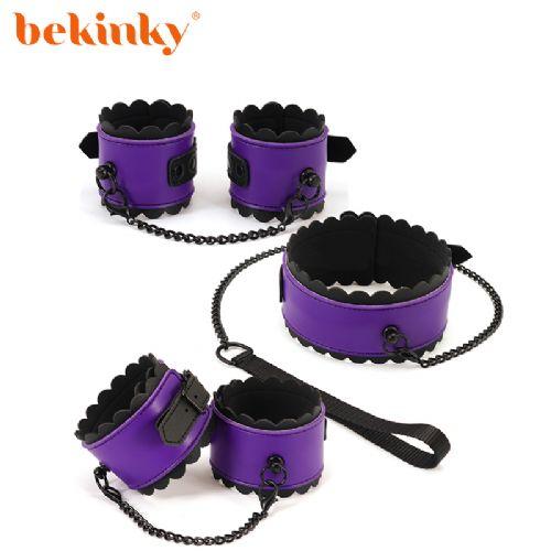 Bekink 必情趣 紫黑花边三件套 SM成人情趣用品