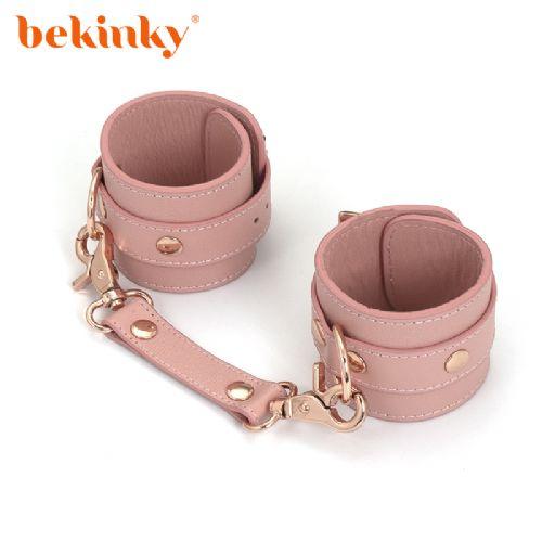 Bekink 必情趣 SM情趣手镣 成人用品软皮革手铐 粉色