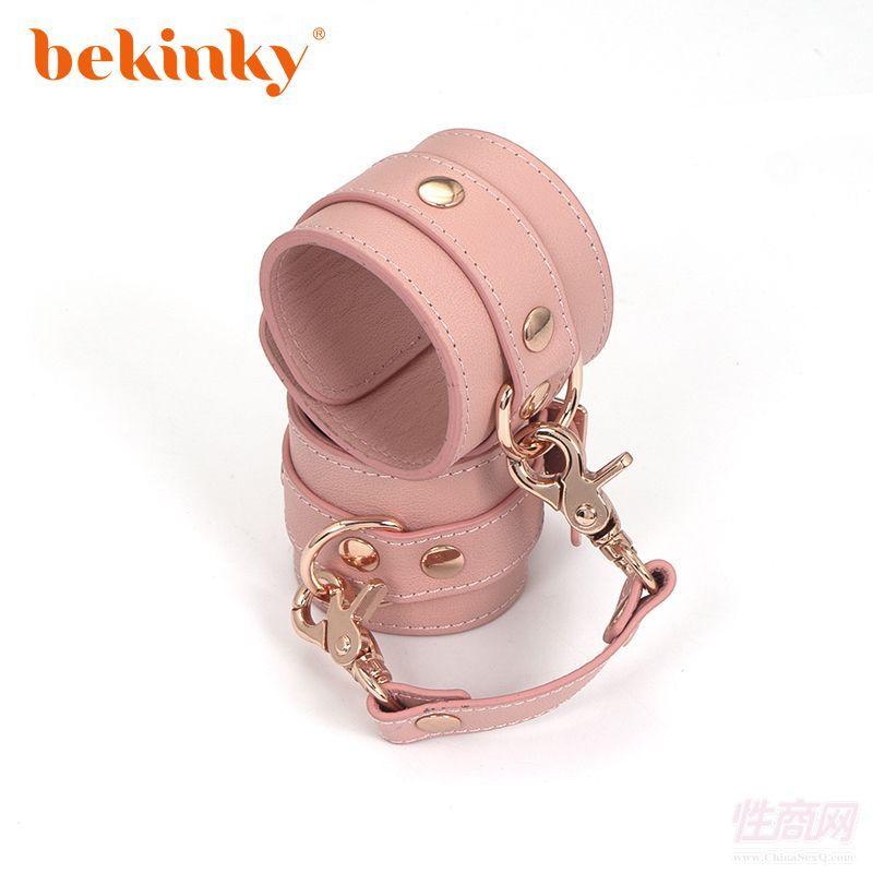 Bekink 必情趣 SM情趣脚镣 成人用品软皮革脚铐 粉色