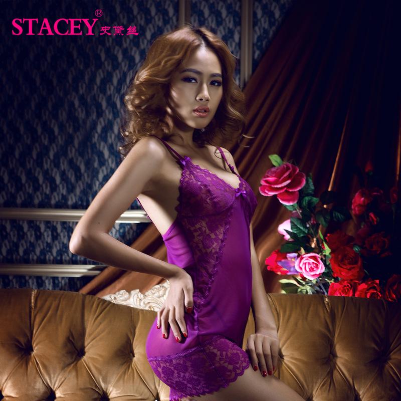 史黛丝 紫色衣服性感情趣内衣(含T裤)11088