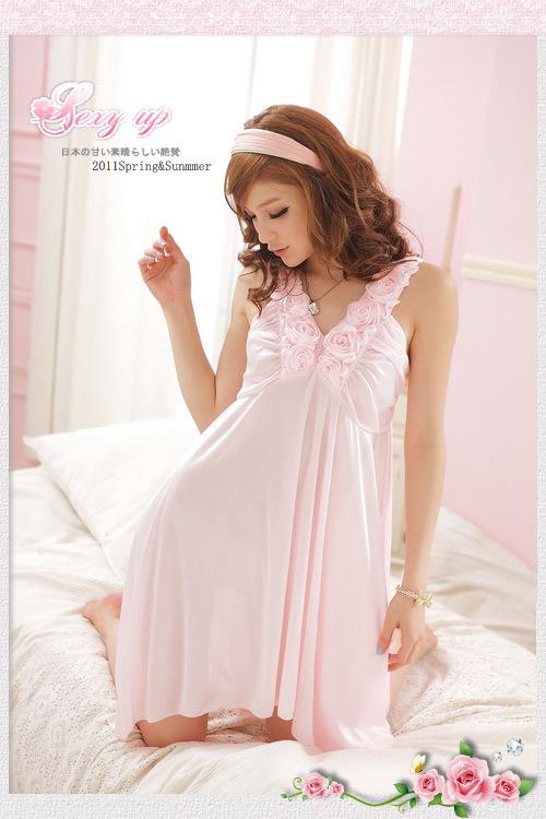 女士情趣睡裙吊带性感妩媚冰丝吊带玫瑰花边睡衣外贸麦美妮B329